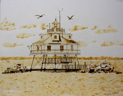Pyrography Pyrography - Thomas Point Shoals Station Lighthouse by H Leslie Simmons