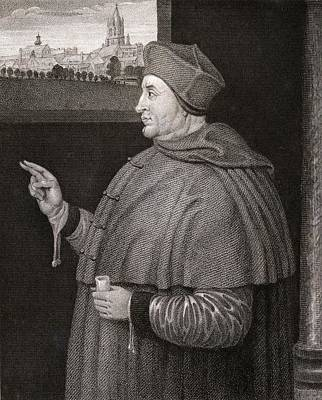 Cardinal Drawing - Thomas Wolsey C.1475-1530. English by Vintage Design Pics