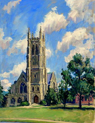 Abstract Realist Landscape Painting - Thompson Chapel Williams College by Thor Wickstrom