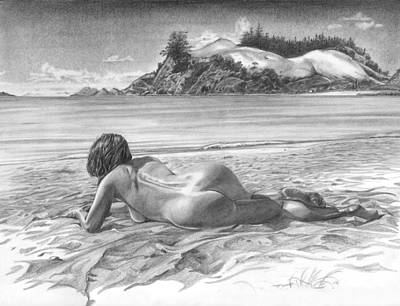 Beach Scenes Drawing - Thompson Point by Olivier Duhamel