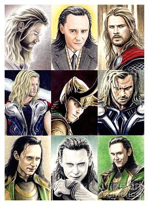Thor Drawing Drawing - Thor And Loki Montage by Wu Wei
