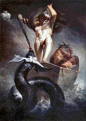 Painting - Thor Battering The Midgard Serpent by Johann Heinrich Fussli