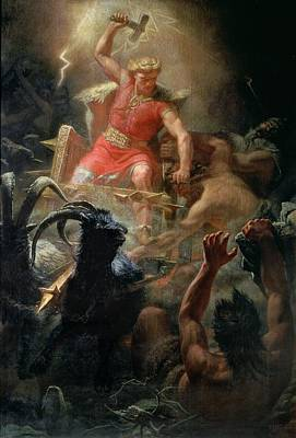 Hammer Painting - Thor Fighting With The Giants by Marten Eskil Winge