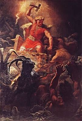 Thor God Of The Vikings  Art Print by Marten Eskil Winge