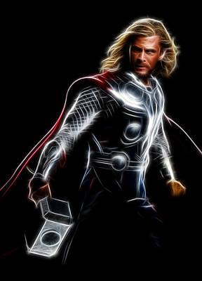 Thor God Of Thunder Print by - BaluX -