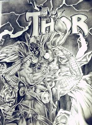 Thor Drawing - Thor by Heather Blickley