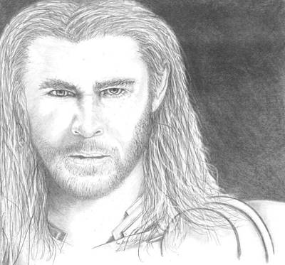 Thor Drawing Drawing - Thor by Jennifer Campbell Brewer