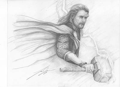 Thor Drawing - Thor by Lance James