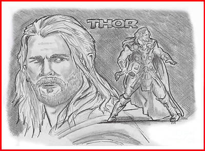 Drawing - Thor Odinson by Chris  DelVecchio