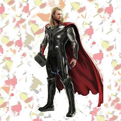Crime Fighter Mixed Media - Thor Splash Super Hero Series by Movie Poster Prints