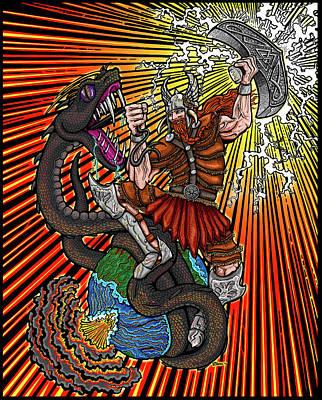 Thor Drawing - Thor Vs Jormungandr by Thome Designs