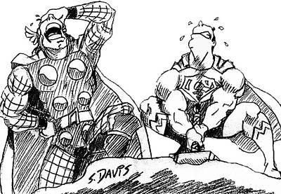 Thor Drawing - Thor Vs. Superman by Scott Davis