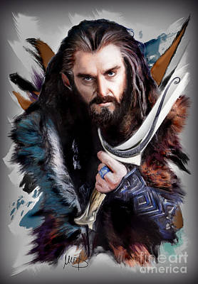 The Hobbit Wall Art - Pastel - Thorin /richard Armitage/ by Melanie D