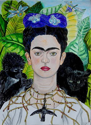Mixed Media - Thorn Necklace And Hummingbird After Frida Kahlo by Betty-Anne McDonald