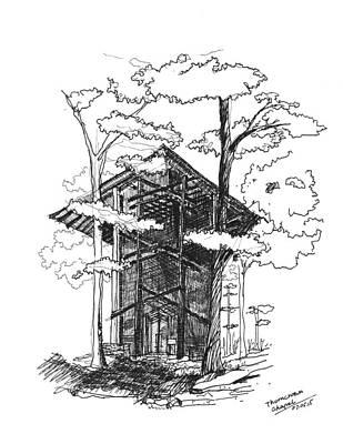 Eureka Springs Drawing - Thorncrown Chapel by Yang Luo-Branch