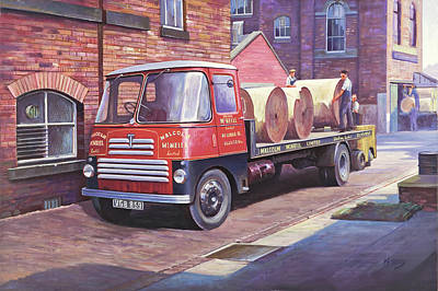 Painting - Thornycroft 7 Tonner. by Mike Jeffries
