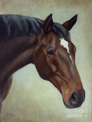 Painting - Thoroughbred Horse, Brown Bay Head Portrait by Amy Reges