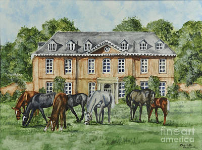Herd Of Horses Painting - Thoroughbreds Grazing At Squerryes Court by Charlotte Blanchard
