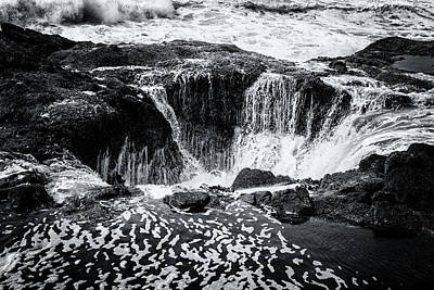 Photograph - Thor's Well, No. 3 Bw by Belinda Greb