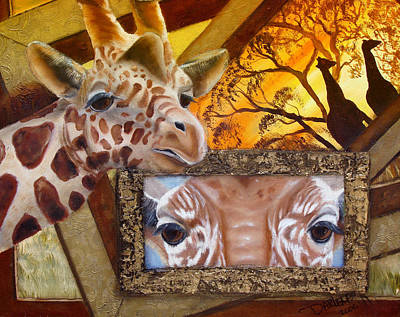 Giraffe Eyes Painting - Those Eyes     Giraffe  Safari Series No 3 by Darlene Green