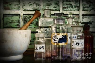 Mortar Photograph - Those Old Pharmacy Bottles by Paul Ward