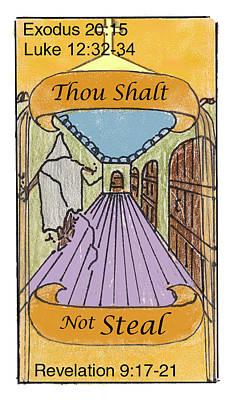 Revelation Drawing - Thou Shalt Not Steal by Chayla Dion Amundsen-Noland