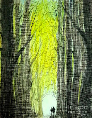 Painting - Though The Forest To The Light  by Wonju Hulse