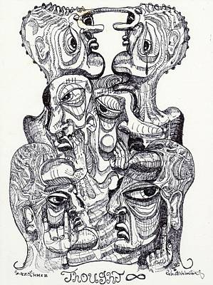 Post Contemporary Drawing - Thought by Robert Wolverton Jr
