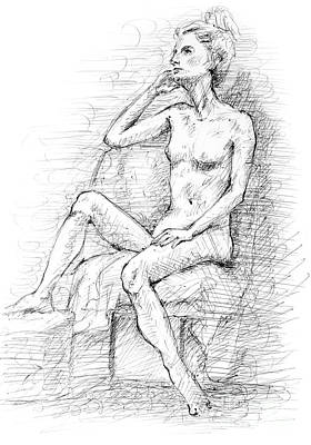 Drawing - Thoughtful A Pen And Ink Drawing Of Female Nude by Adam Long