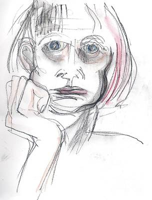 Art Print featuring the drawing Thoughtful - A Selfie by Carolyn Weltman