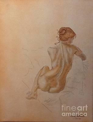 Thoughtful Nude Lady Art Print