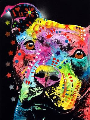 Rescue Pet Painting - Thoughtful Pitbull I Heart U by Dean Russo