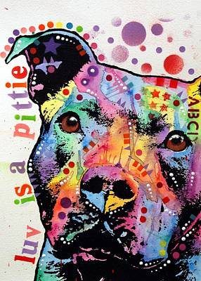 Pitbull Wall Art - Painting - Thoughtful Pitbull Luv Is A Pittie by Dean Russo