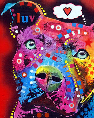 Pitbull Wall Art - Painting - Thoughtful Pitbull Thinks Luv by Dean Russo