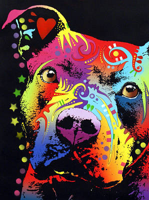 Graffiti Painting - Thoughtful Pitbull Warrior Heart by Dean Russo