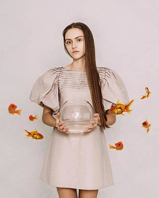 Photograph - Thoughts Of Freedom. Series Escape Of Golden Fish  by Inna Mosina