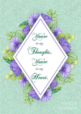 Digital Art - Thoughts Of You Purple Watercolor Flowers by JH Designs