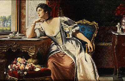 Thoughts When Writing The Letter Art Print by Gustave Leonard de Jonghe