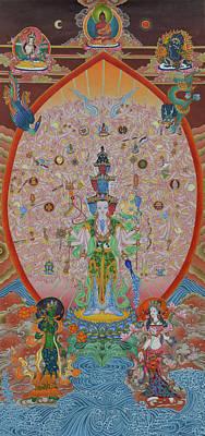 Liberation Painting - Thousand-armed Avalokiteshvara by Ariyas Thangkas