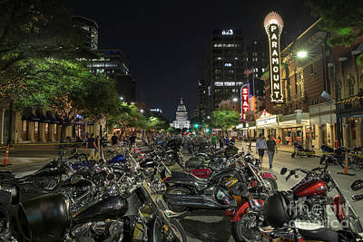 Thousands Of Custom Hogs Or Harley Davidson Motorcycles Line Up Congress Avenue In Downtown Austin Art Print by Herronstock Prints