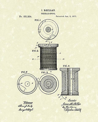 Drawing - Thread Spool 1877 Patent Art by Prior Art Design