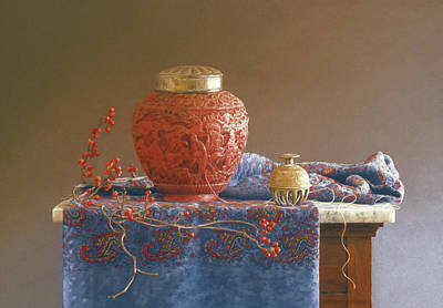 Red Thread Painting - Thread To The Past by Barbara Groff