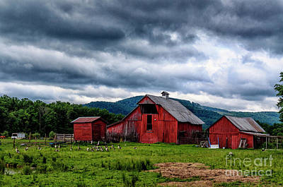 Threatening Sky And Barn Art Print by Thomas R Fletcher