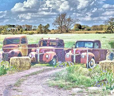 Photograph - Three 1940 Ford Pickups For Sale by Janette Boyd