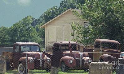 Photograph - Three 1940 Ford Pickups by Janette Boyd