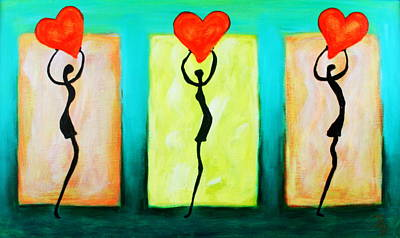 Painting - Three Abstract Figures With Hearts by Bob Baker