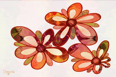 Digital Art - Three Abstract Flowers By Omaste Witkowski by Omaste Witkowski