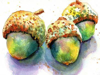 Painting - Three Acorns by Carlin Blahnik CarlinArtWatercolor