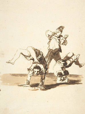 Drawing - Three Acrobats by Francisco Goya