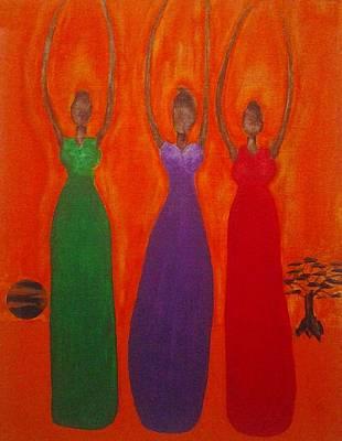 Hoodies Painting - Three African Goddesses 2 by Tonya Merrick